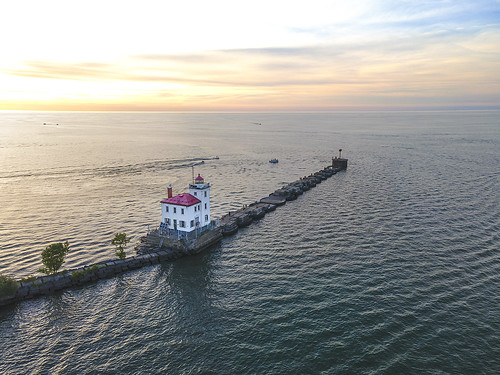 lighthouse sunset lakeerie drone inspire1pro reflections waves