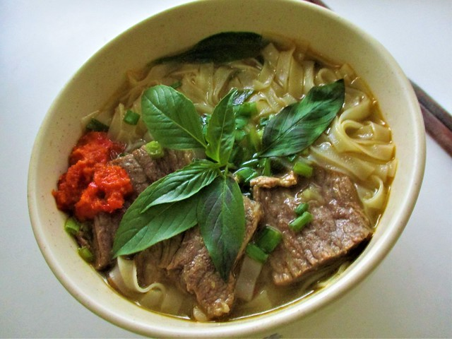 Thai basil in beef pho