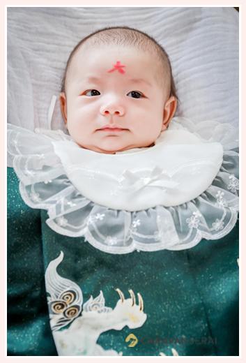 関西の風習♪お宮参り時に赤ちゃん(男の子)のおでこに「大」の字を書きます!