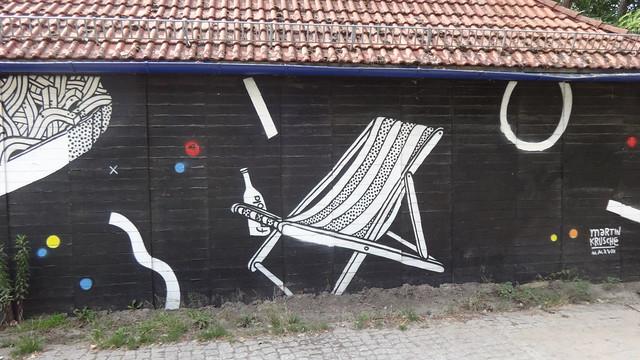 2018 Berlin Wandmalerei von Martin Krusche am Strandbad Am Weißen See Seeweg in 13088 Weißensee