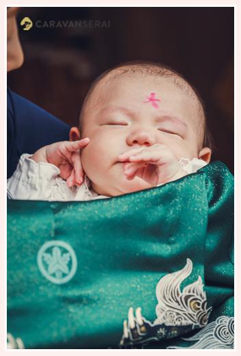 お宮参り 男の子赤ちゃんのおでこに「大」の字を書く 関西の風習