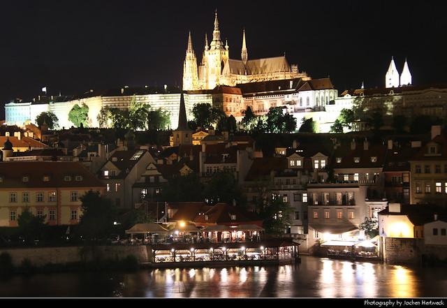 Mala Strana & Hradcany seen from Charles Bridge @ Night, Prague, Czech Republic