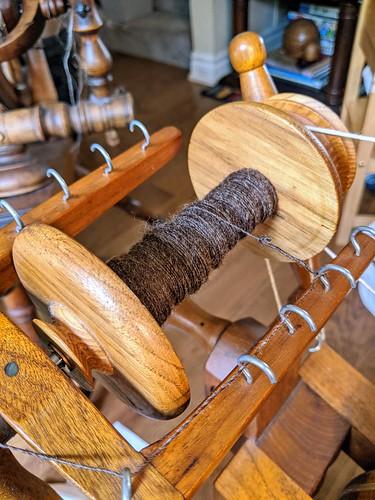 Handspun Shetland wool on Watson Martha spinning wheel in butternut wood by irieknit