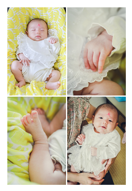 お宮参り 眠る赤ちゃん 手や足の接写