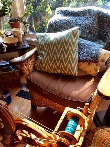 Watson Martha spinning wheel and chair with handwoven mohair wool indigo dyed boucle throw and cushions in bay window