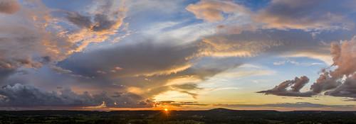sunset whitecounty tennessee tn thunderstorm storm rain cumulus clouds color red orange purple dji mavic pro2 aerial uppercumberland