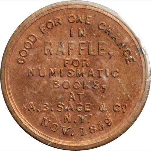 1859 A.B. Sage store card obverse | by Numismatic Bibliomania Society