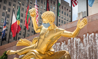 Rockefeller Center Prometheus Statue Face Mask COVID19 New York City | by Anthony Quintano