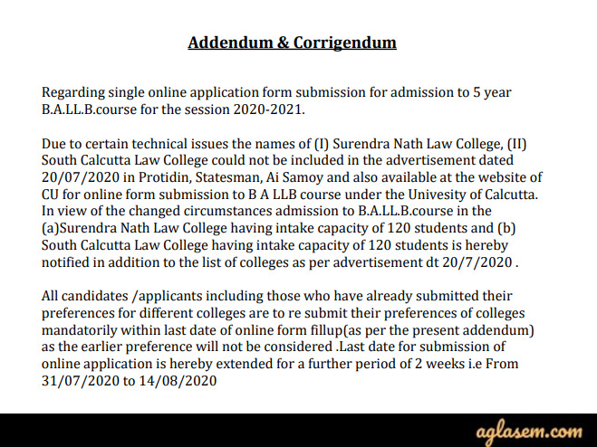 Calcutta University BA LLB 2020 Application Form Deadline Extended