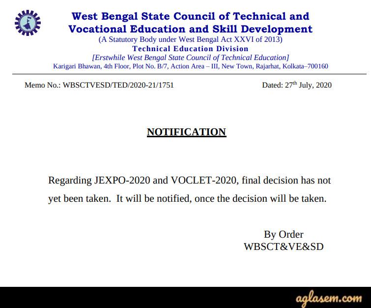 JEXPO 2020, VOCLET 2020 Exam Postponed Notice
