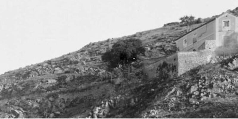 Almez de la ermita del Valle hacia 1885. Detalle de una fotografía del fondo Levy, tal vez tomada por Casiano Alguacil.