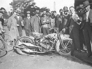 A damaged V-Twin motorcycle, Sam Hood | by State Library of New South Wales collection