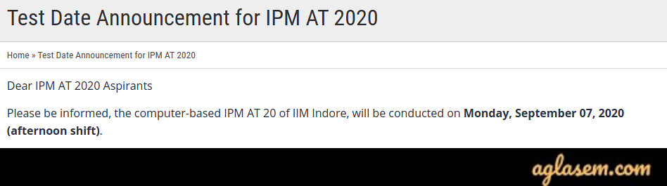 IIM Indore IPM 2020 Aptitude Test Date (IPMAT) New Exam Date