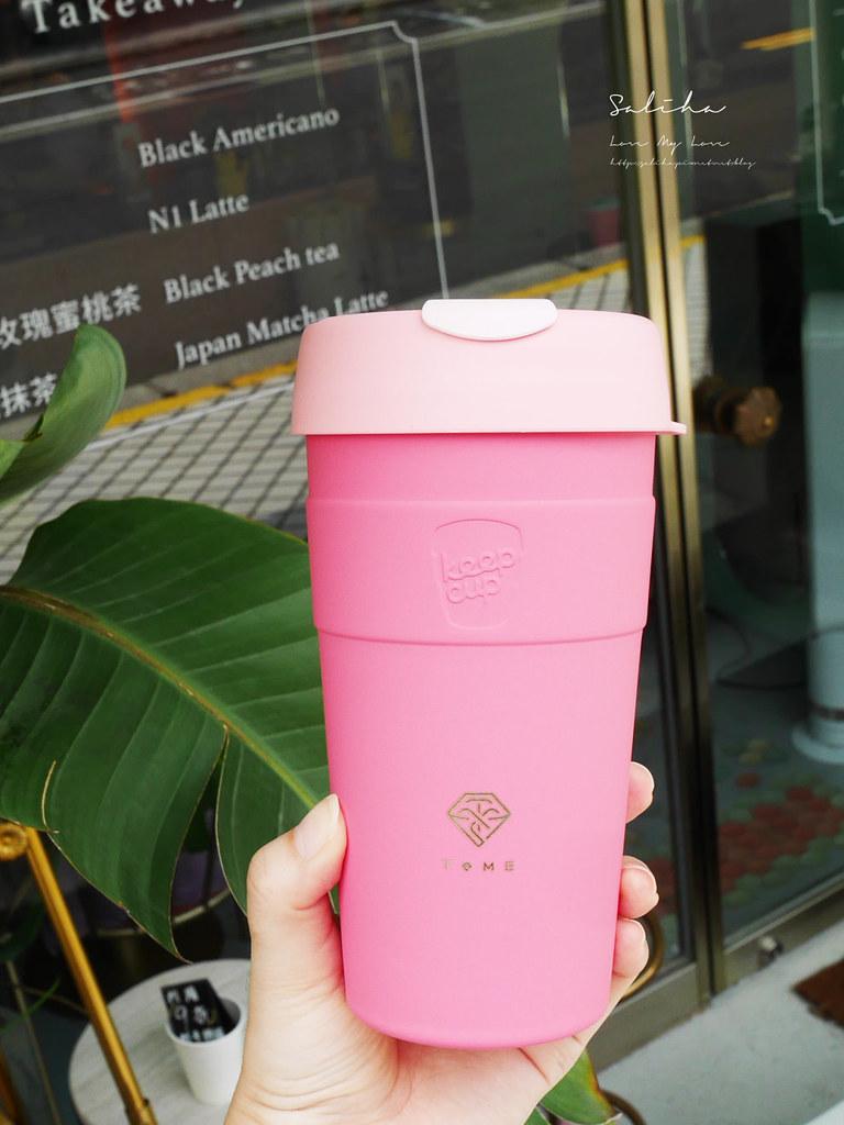 台北士林站劍潭站附近超美韓風網美風必拍粉嫩咖啡廳下午茶T.ME Cafe外帶杯 (1)