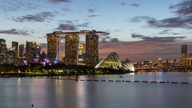 Gardens by the Bay and Marina Bay Sands at Dusk