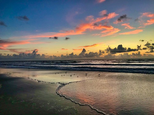 pontevedrabeach florida fl usa atlantic ocean water beach seashore shoreline coastline sunrise sky clouds reflections nature atlanticocean