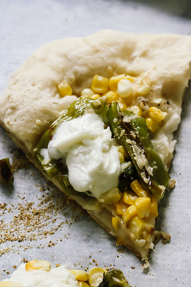 Corn, Shishito, and Buffalo Mozzarella Pizza