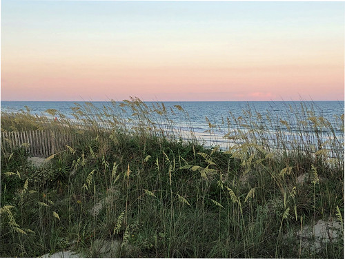 sunset beach dunes grasses seaoats blowing swaying breezy breezes sanddunes fence dunefence waves ocean atlanticocean twilight rosysky seascape jennypansing iphone