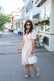 beige leopard dress, white bag, slide sandals, aries necklace-4.jpg | by LyddieGal