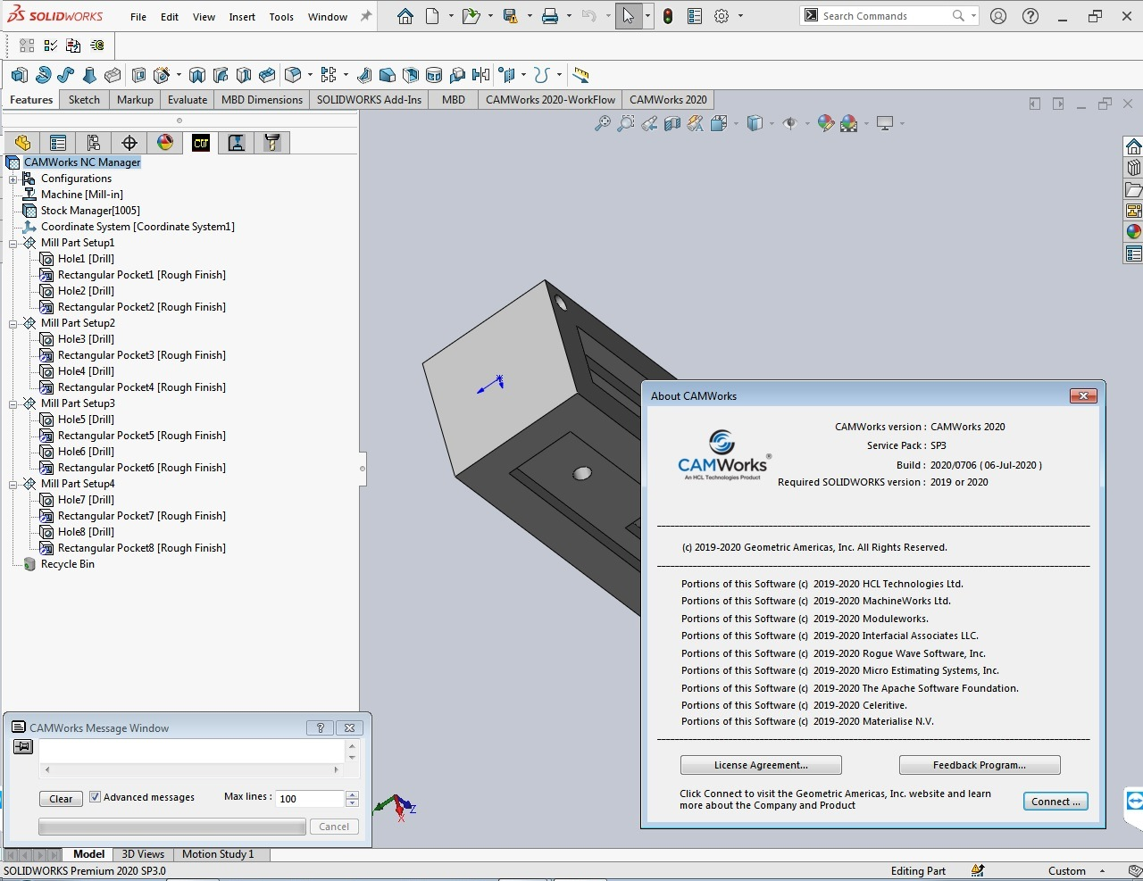 Working with CAMWorks 2020 SP3 Build 2020.07.06 for solidworks 2020 sp3.0