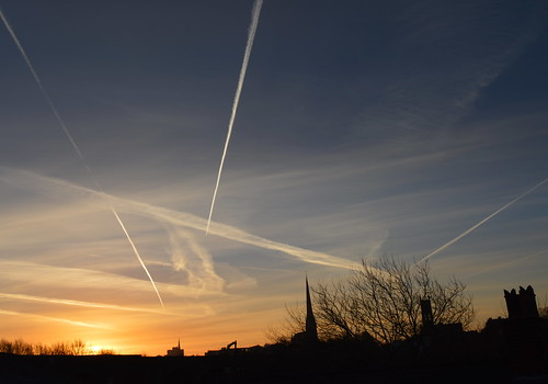 Tracks in the morning sky over Preston | by Tony Worrall