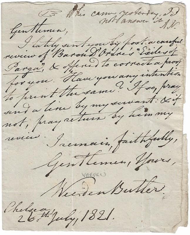Weeden letter to Gentleman's Magazine