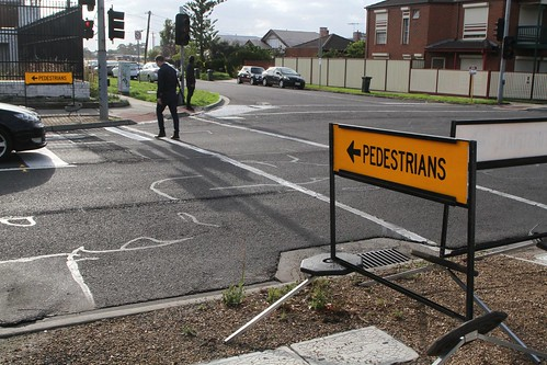 Pedestrian detour around the yet to be commissioned traffic signals on Hampshire Road at the Sun Crescent roundabout