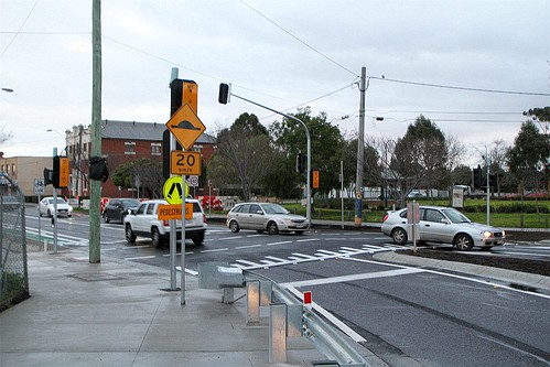Yet to be commissioned traffic signals on Hampshire Road at the Sun Crescent roundabout temporarily signed as a zebra crossing