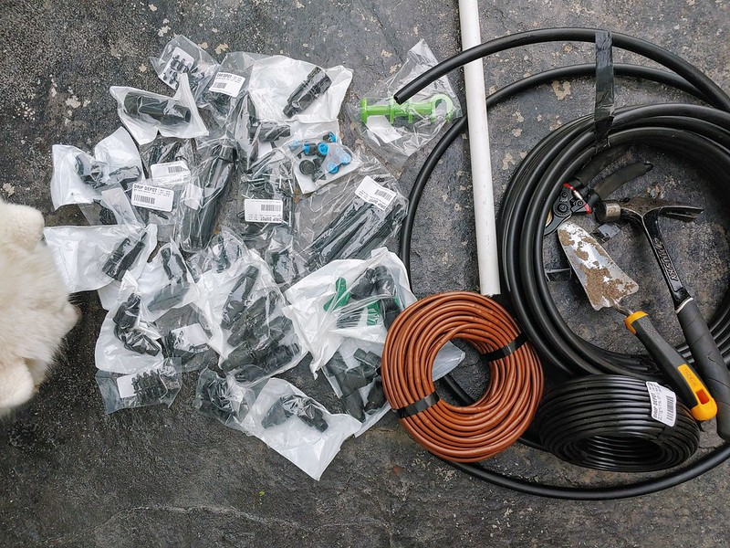 Supplies from DripDepot for Drip Irrigation in the raised garden beds