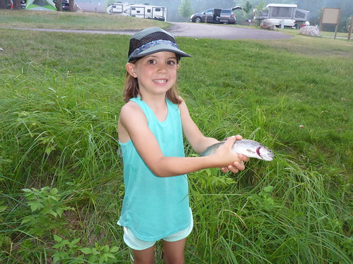 Alison with her first Rainbow Trout