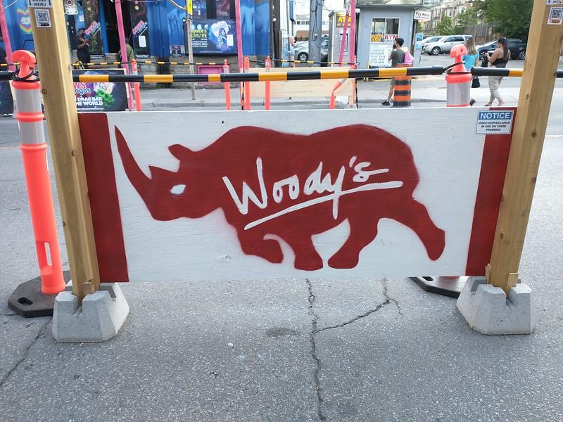 Painted rhinoceri of Woody's (2) #toronto #churchandwellesley #churchandwellesley #woodys #woodystoronto #streetart #gaybar #lgbtq #nightclubbing #rhinoceros #canada #red #white