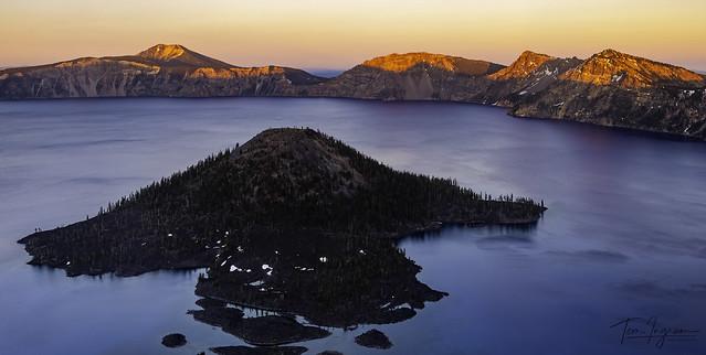 Crater Lake at sunset