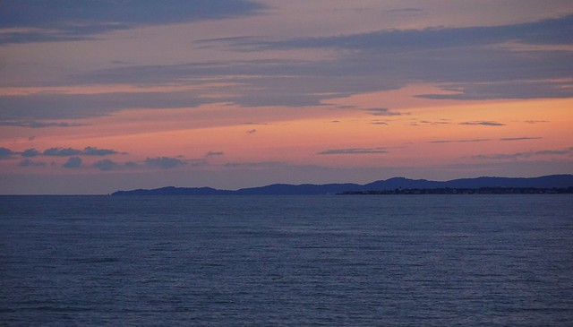 View towards the Swedish promontory Kullaberg after sunset