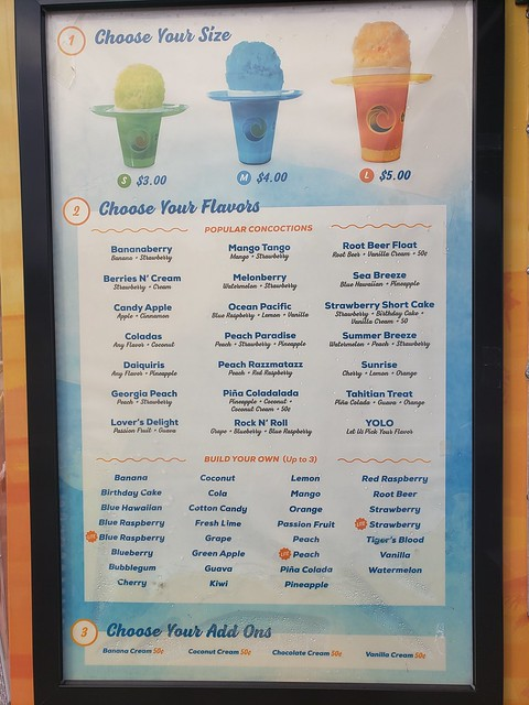 Tropical Sno Menu