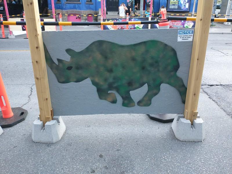 Painted rhinoceri of Woody's (4) #toronto #churchandwellesley #churchandwellesley #woodys #woodystoronto #streetart #gaybar #lgbtq #nightclubbing #rhinoceros #camo