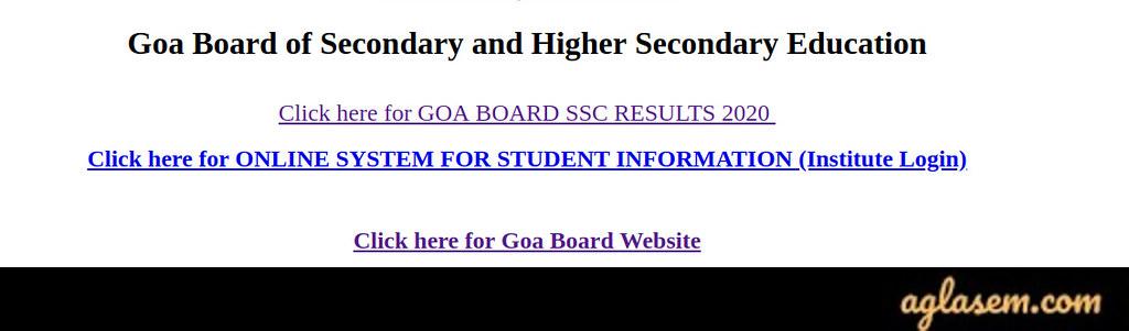 Goa Board 10th Result 2020