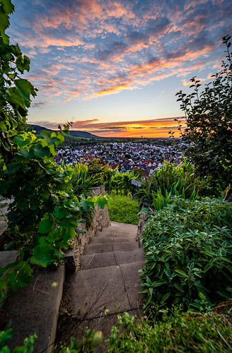 landscape view vineyards stairs town urban sunset dawn evening mood sky clouds light details colors summer romantic outdoors nature season wanderlust travel visit explore discover stetten kernen remstal badenwürttemberg germany photography hobby nikonz6