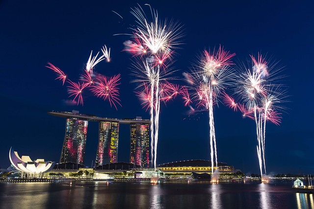 National Day Rehearsal Fireworks at Marina Bay