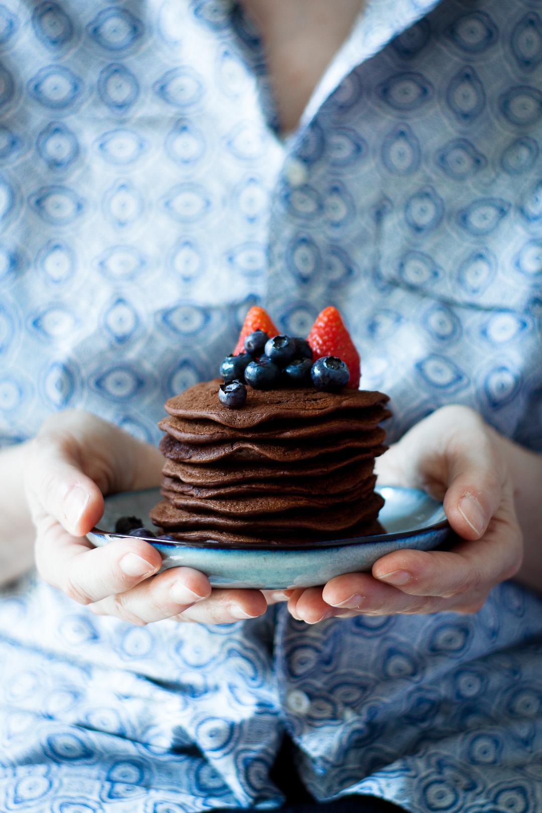 cocoa pancakes, vegan & gluten free