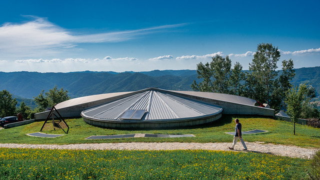No Ufo. An interesting town hall in the Italian mountains.