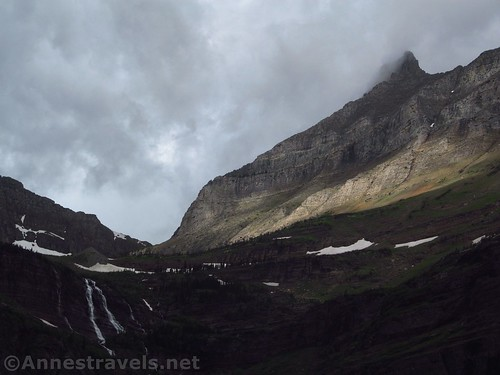 The upper part of Grinnell Falls and the nearby mountains, Grinnell Lake, Glacier National Park, Montana