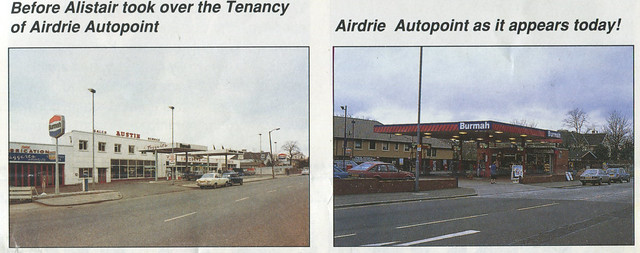 Burmah, Taggarts / Airdrie Autopoint, Airdrie, Lanarkshire, late 1970s and c.1992 (extract from Burmah People magazine)