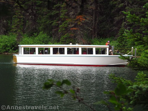 The tour boat on Swiftcurrent Lake, Glacier National Park, Montana