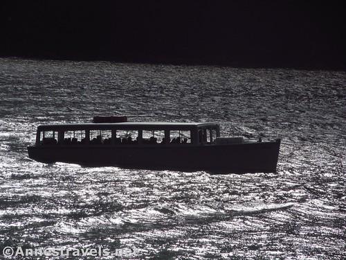 Silhouette of a tour boat on Lake Josephine, Glacier National Park, Montana