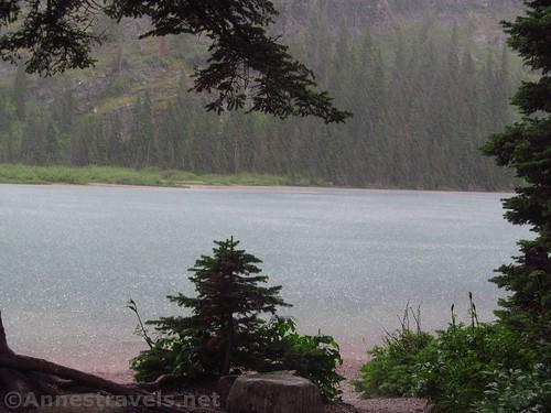 The summer snowstorm over Lake Josephine, Glacier National Park, Montana