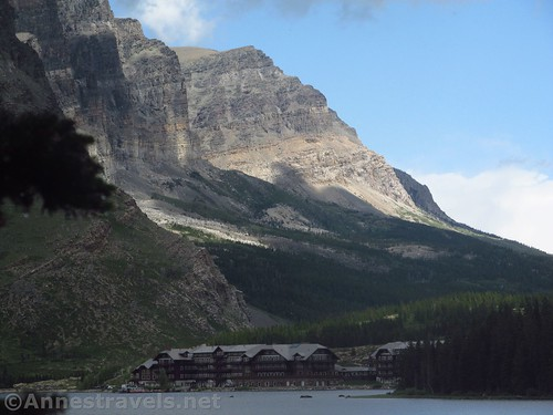 The Many Glacier Hotel across Swiftcurrent Lake, Glacier National Park, Montana