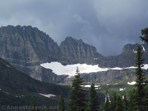 Closeup of the Salamander Glacier from the bridge over the Lake Josephine Inlet, Glacier National Park, Montana