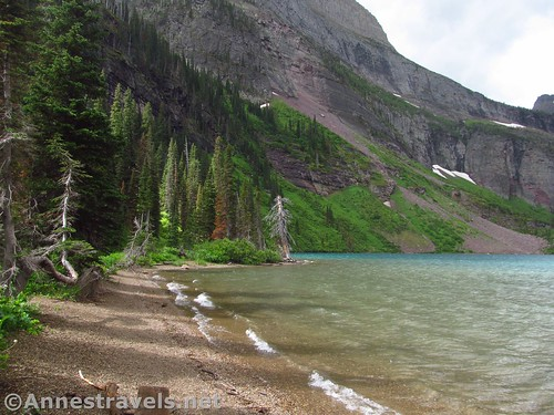The lakeshore of Grinnell Lake, Glacier National Park, Montana