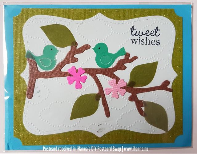 Tweet wishes DIY Postcard made by Joy D. in Pennsylvania. US