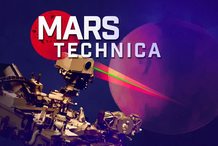 Mars Technica logo. Mars Technica is a new, limited-series podcast where experts talk about the science behind the Mars Perseverance mission.